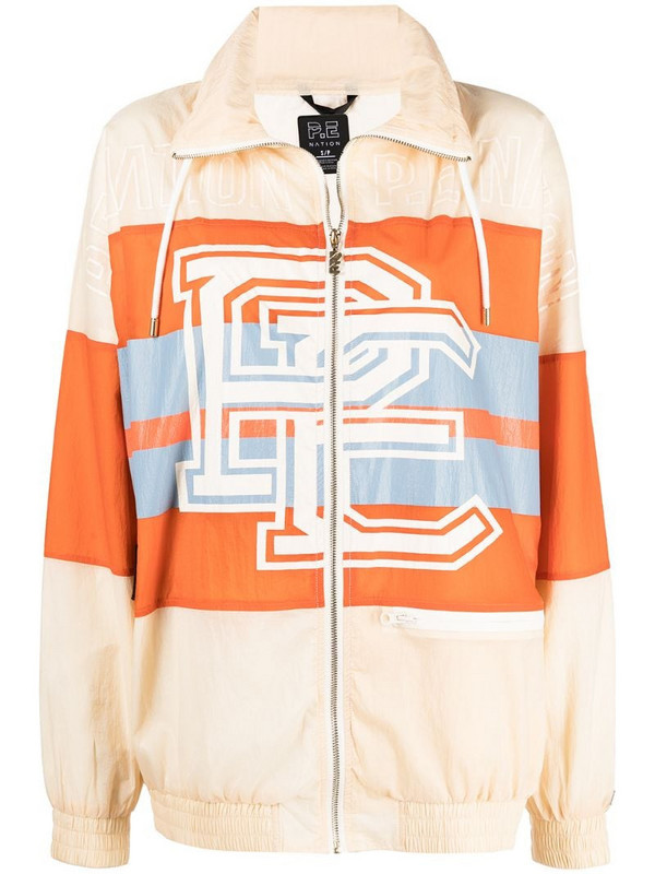 P.E Nation Score Runner zip-up bomber jacket in neutrals