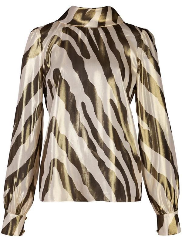 Haney Billie zebra-print blouse in white