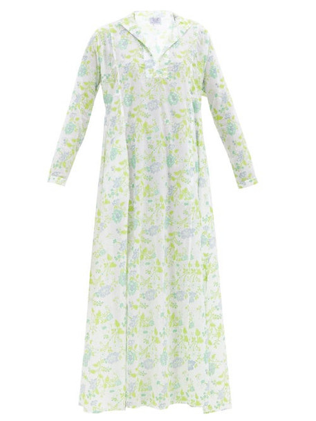 Thierry Colson - Parvati Floral-printed Cotton-voile Kaftan - Womens - Green Blue Print