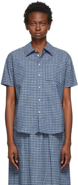 A.P.C. A.P.C. Navy & Grey Check Boyfriend Short Sleeve Shirt