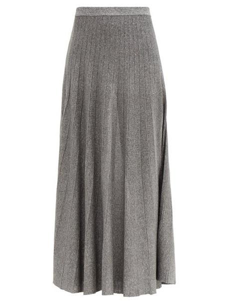 Joseph - Ribbed Lamé Knitted Skirt - Womens - Dark Grey