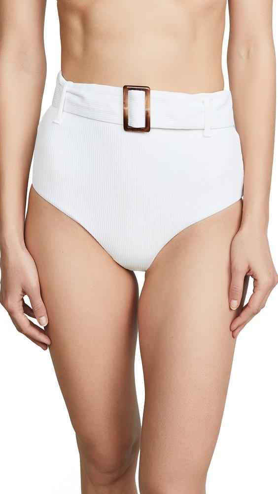 Charlie Holiday Expedition Rib High Waist Bikini Bottoms in white