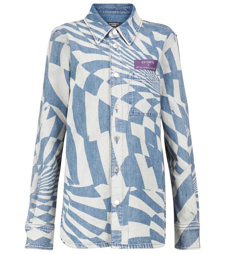 STELLA McCARTNEY x Ed Curtis printed denim shirt in blue