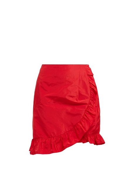 Alexachung - Ruffle Trimmed Taffeta Wrap Skirt - Womens - Red