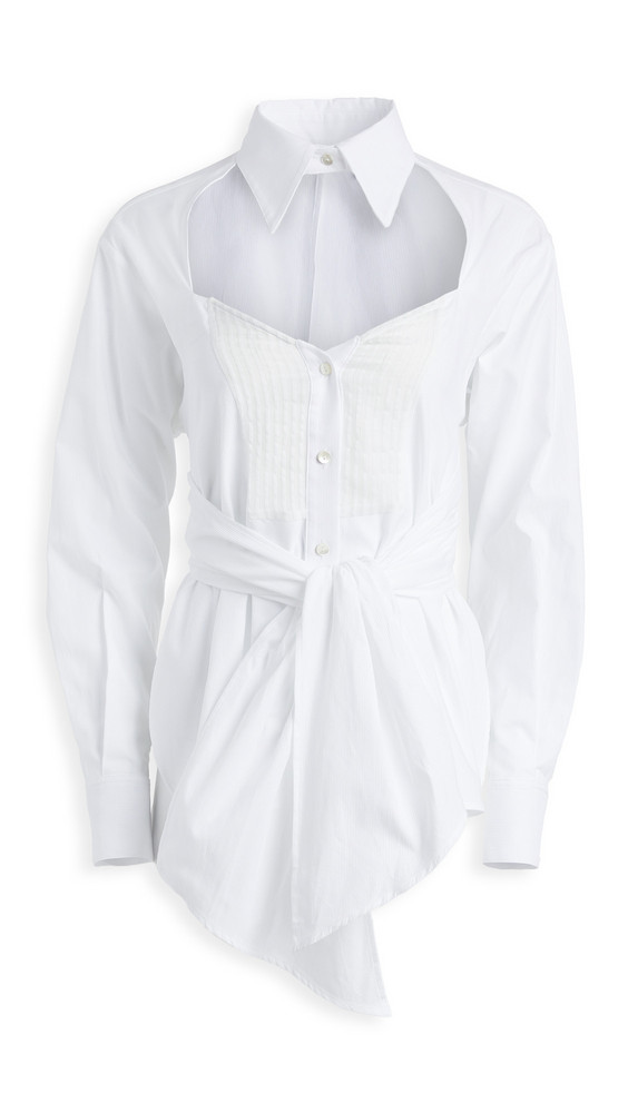 Unravel Project Heart Shaped Cross Knot Shirt in white