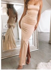dress,gold,prom dress,silk,silk dress,tight