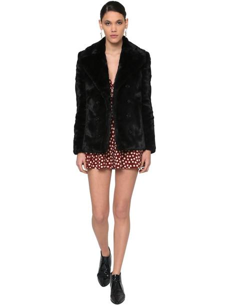 SAINT LAURENT Double Breasted Faux Fur Coat in black