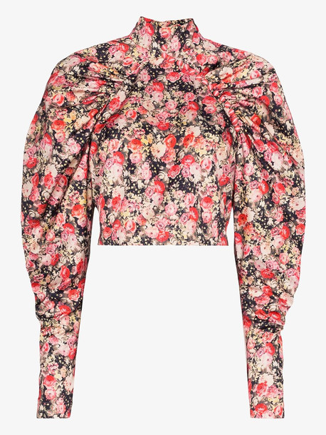 ROTATE Kim floral high neck top in red