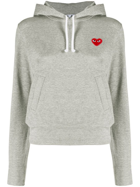 Comme Des Garçons Play logo heart hoodie in grey