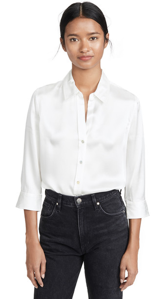 L'AGENCE Dani Crop Blouse in ivory