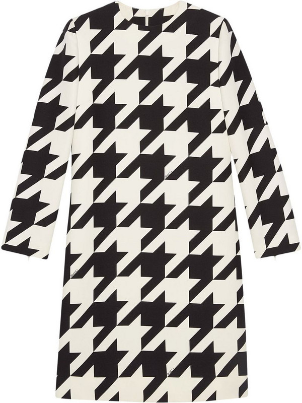 Gucci houndstooth-print dress in white