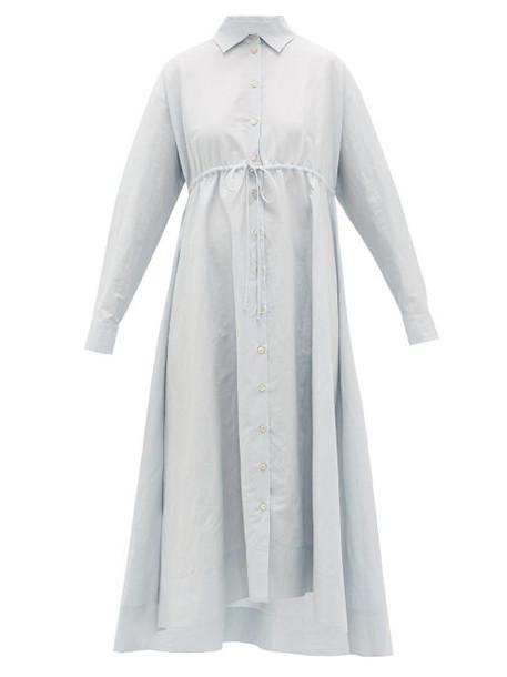 Brock Collection - Dip-hem Cotton-blend Shirt Dress - Womens - Light Blue