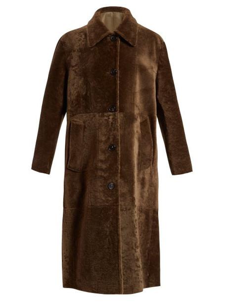 Bottega Veneta - Reversible Long Shearling Coat - Womens - Khaki