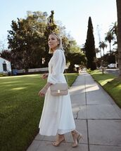 dress,white dress,pleated,long sleeve dress,zimmermann,sandals,crossbody bag