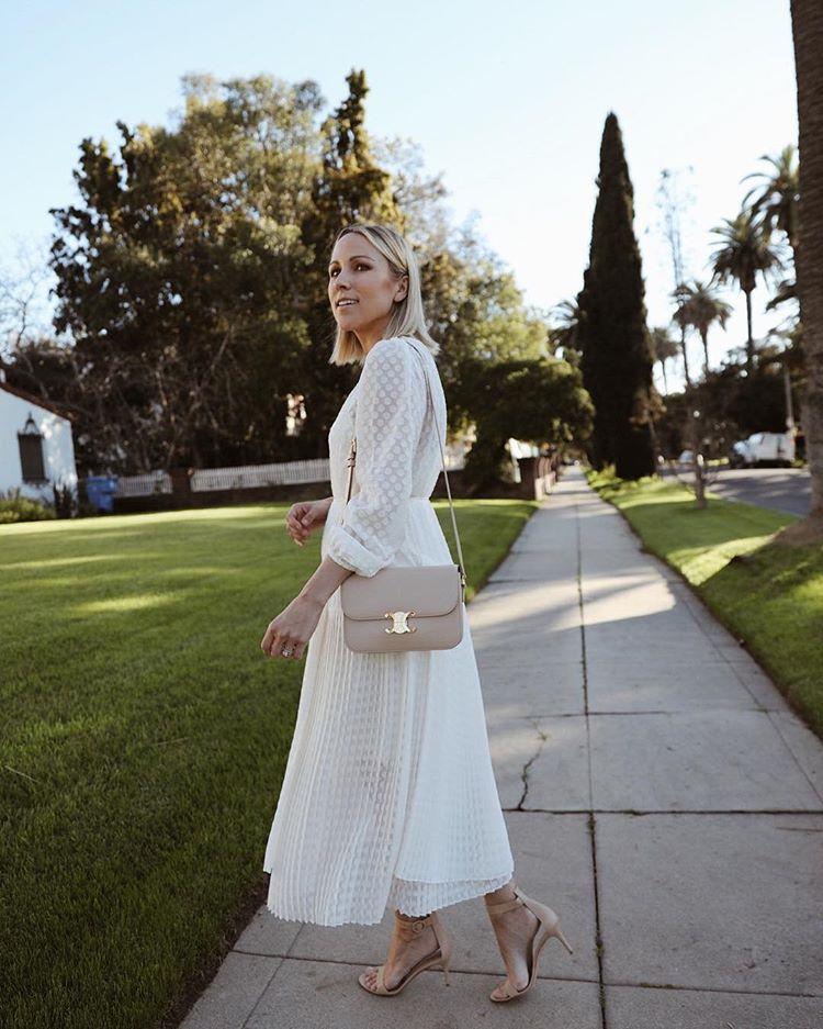 dress white dress pleated long sleeve dress zimmermann sandals crossbody bag