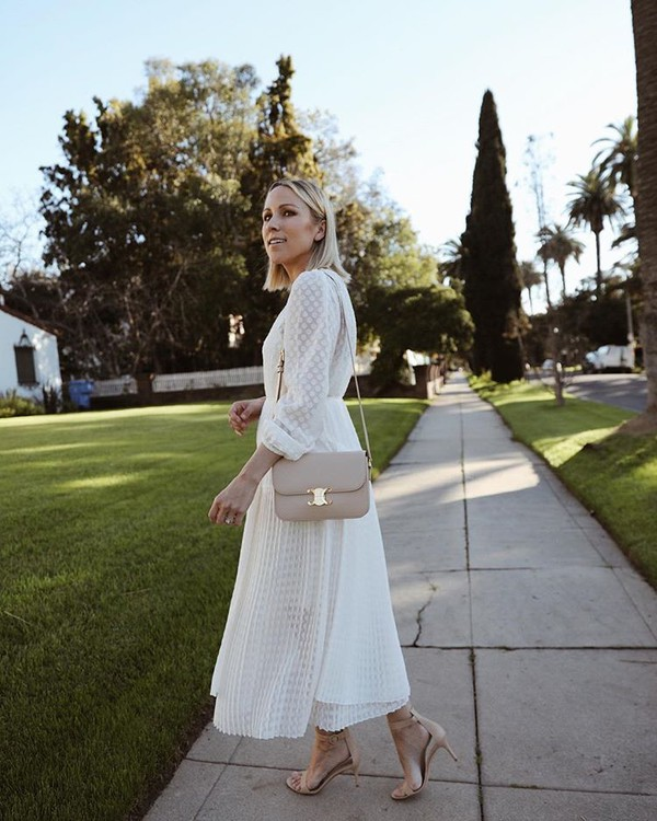 dress white dress pleated long sleeve dress zimmermann sandals crossbody bag