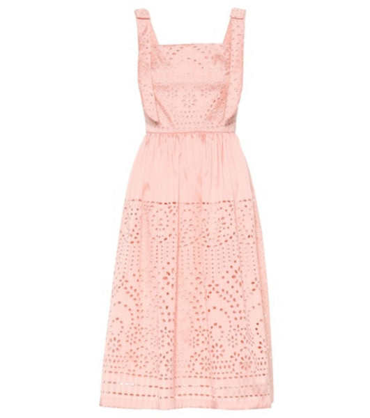 Monique Lhuillier Broderie anglaise satin midi dress in pink