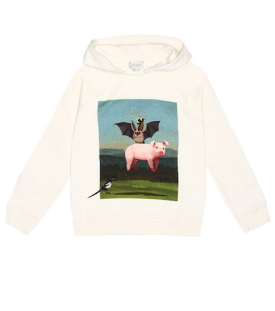 Gucci Kids Printed cotton hoodie in white