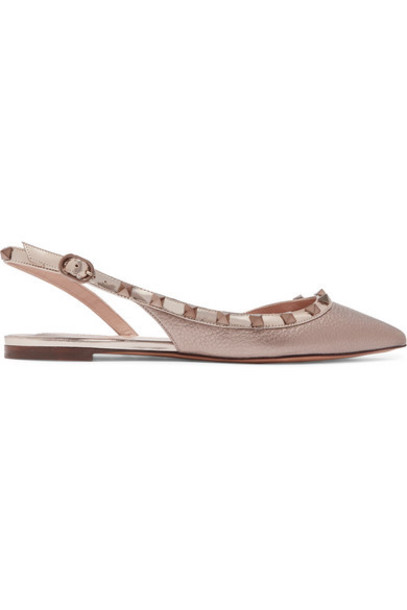 Valentino - Valentino Garavani The Rockstud Metallic Textured-leather Slingback Flats - Gold