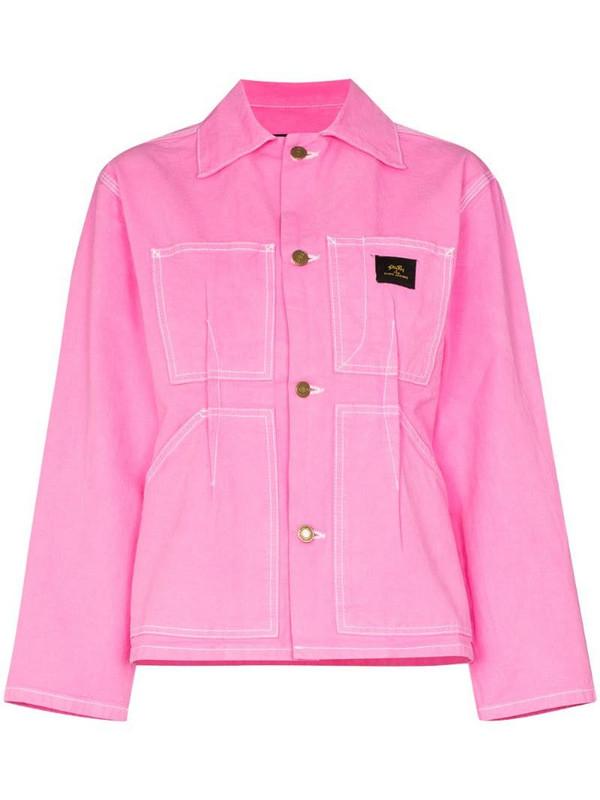 Marc Jacobs logo patch detail denim jacket in pink