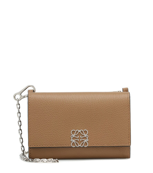 Loewe Anagram Small leather clutch in brown
