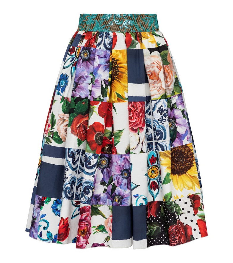 Dolce & Gabbana Patchwork cotton-blend midi skirt