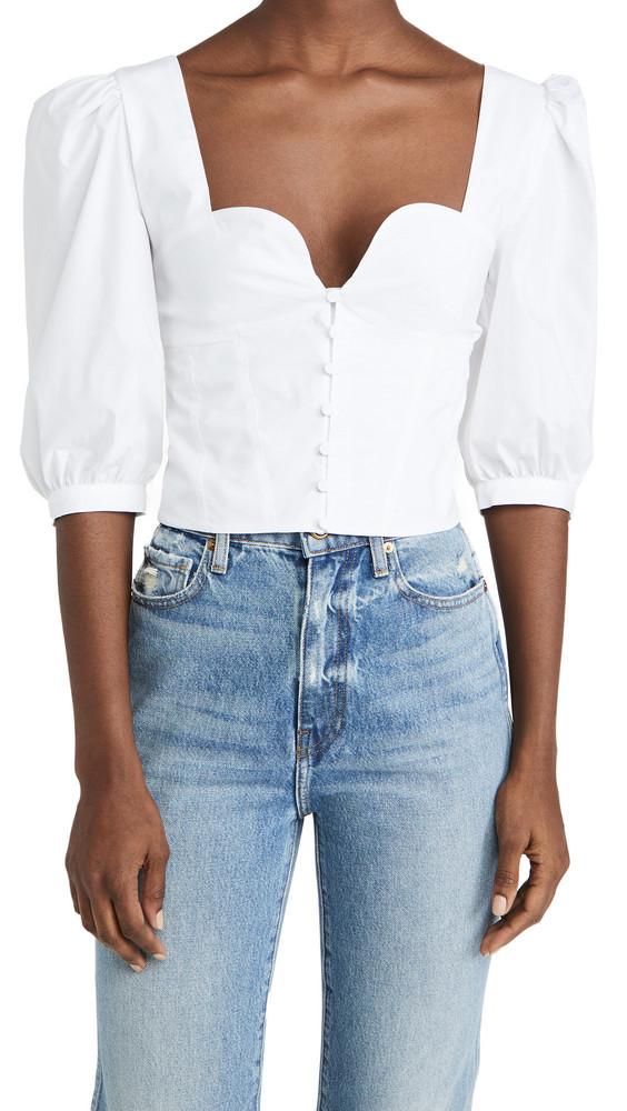 Jonathan Simkhai STANDARD Thea Smocked Puff Sleeve Top in white