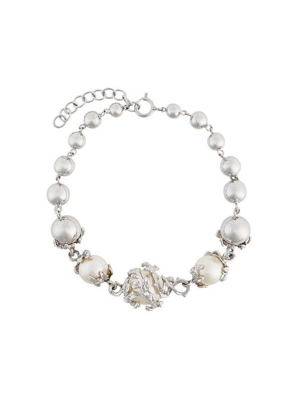 Kasun London orb & 3 pearls bracelet in metallic
