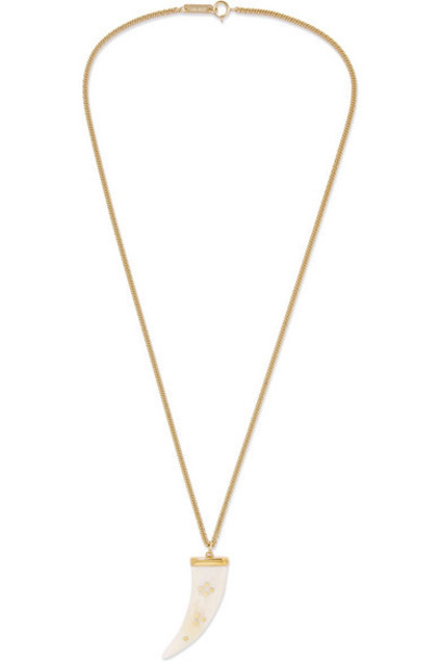 Isabel Marant - Gold-tone Horn Necklace - White