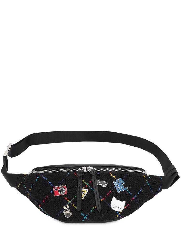 KARL LAGERFELD K Studio Leather & Tweed Belt Bag in black