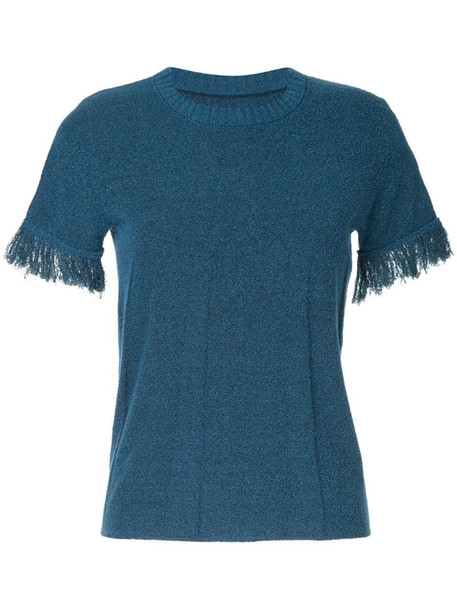 Onefifteen raw cuff T-shirt in blue