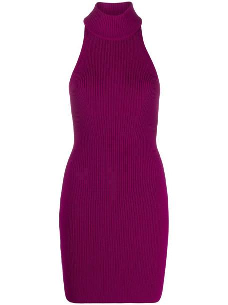 Dsquared2 knitted halterneck mini dress in purple