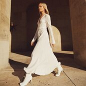 dress,maxi dress,white dress,long sleeve dress,pleated dress,white boots