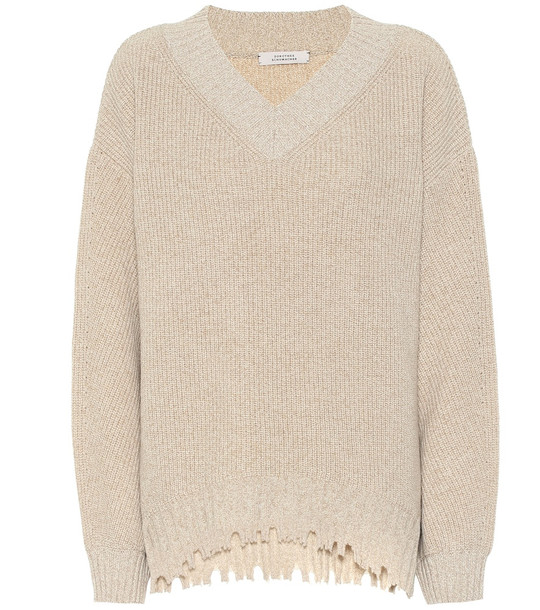 Dorothee Schumacher Fringe Vitality wool and cashmere sweater in beige