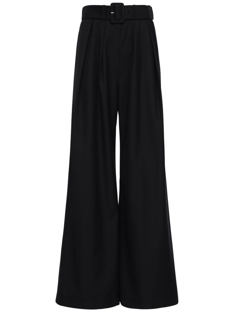 SELF-PORTRAIT Wool Blend Twill Wide Leg Pants in black