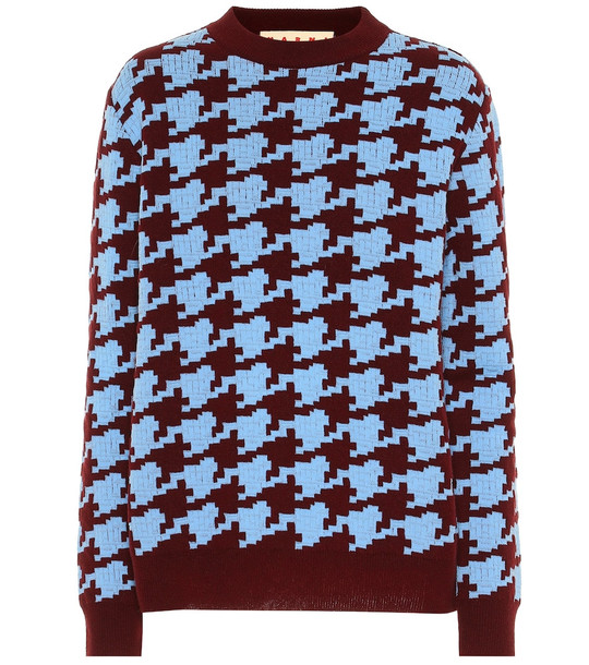 Marni Houndstooth wool blend sweater in blue