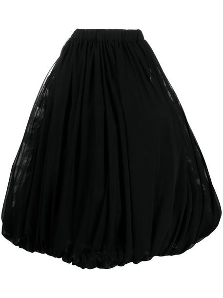 Comme Des Garçons draped midi skirt in black