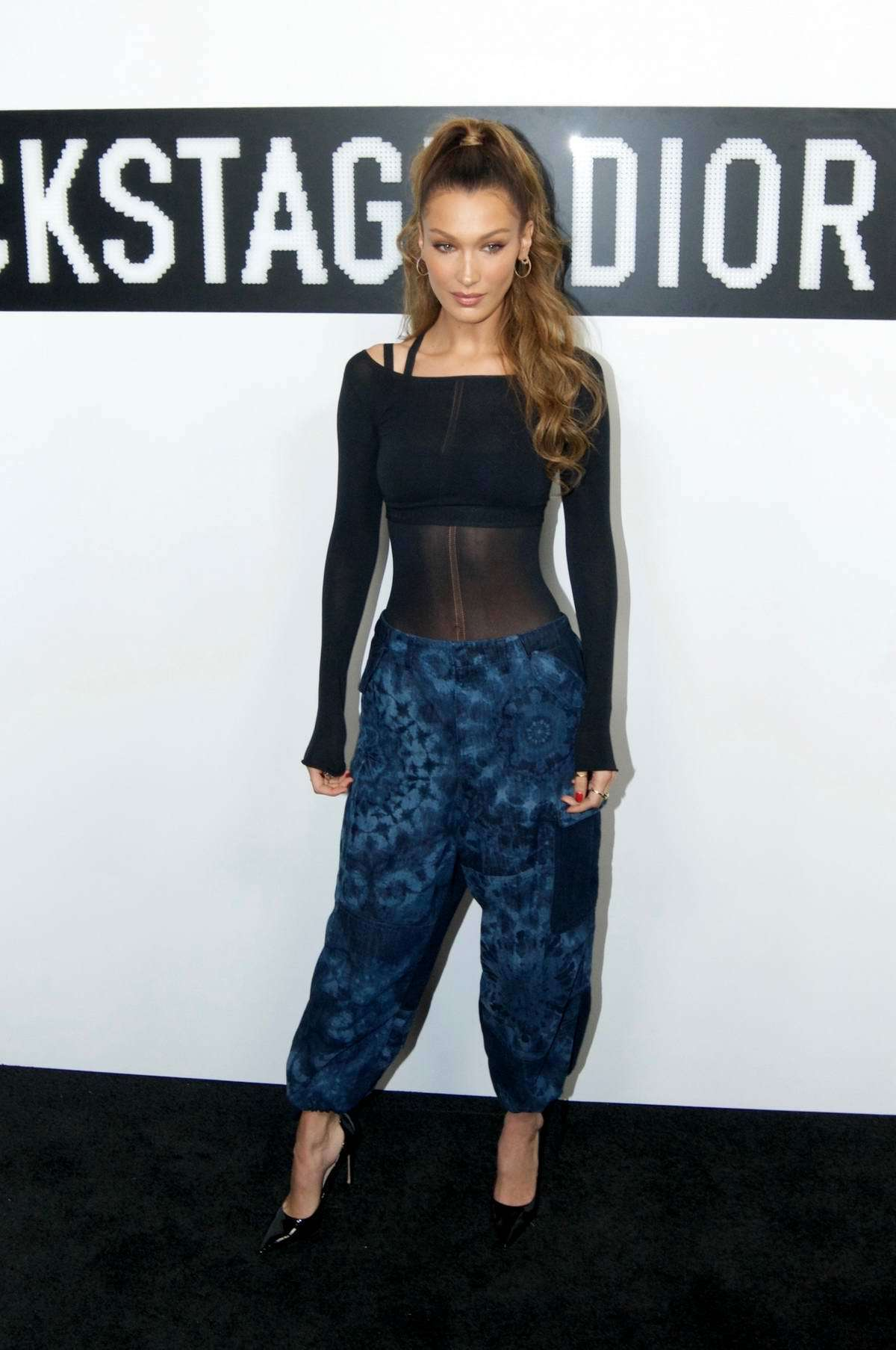 pants sheer top sheer top bella hadid model off-duty celebrity