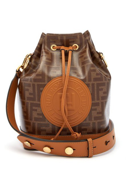 Fendi - Mon Tresor Ff Jacquard Leather Bucket Bag - Womens - Tan Multi