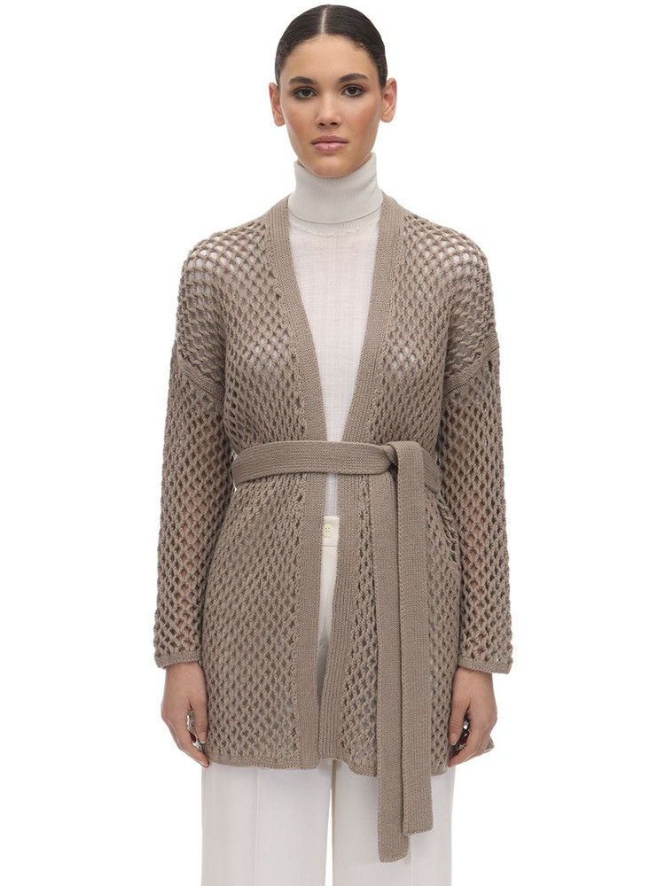 AGNONA Belted Cashmere Knit Cardigan in beige