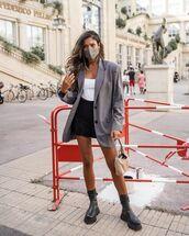 jacket,blazer,black boots,mini skirt,black skirt,white top,prada bag