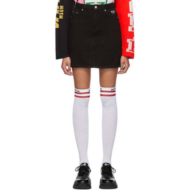 MSGM Black Denim Miniskirt