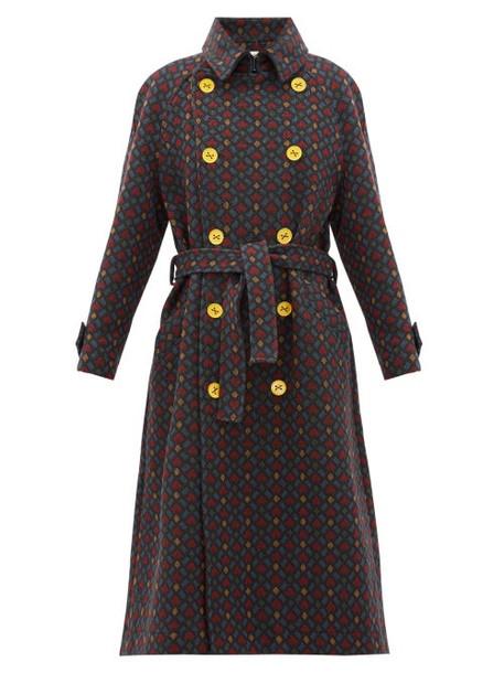 M Missoni - Geometric-jacquard Cotton Trench Coat - Womens - Black Multi
