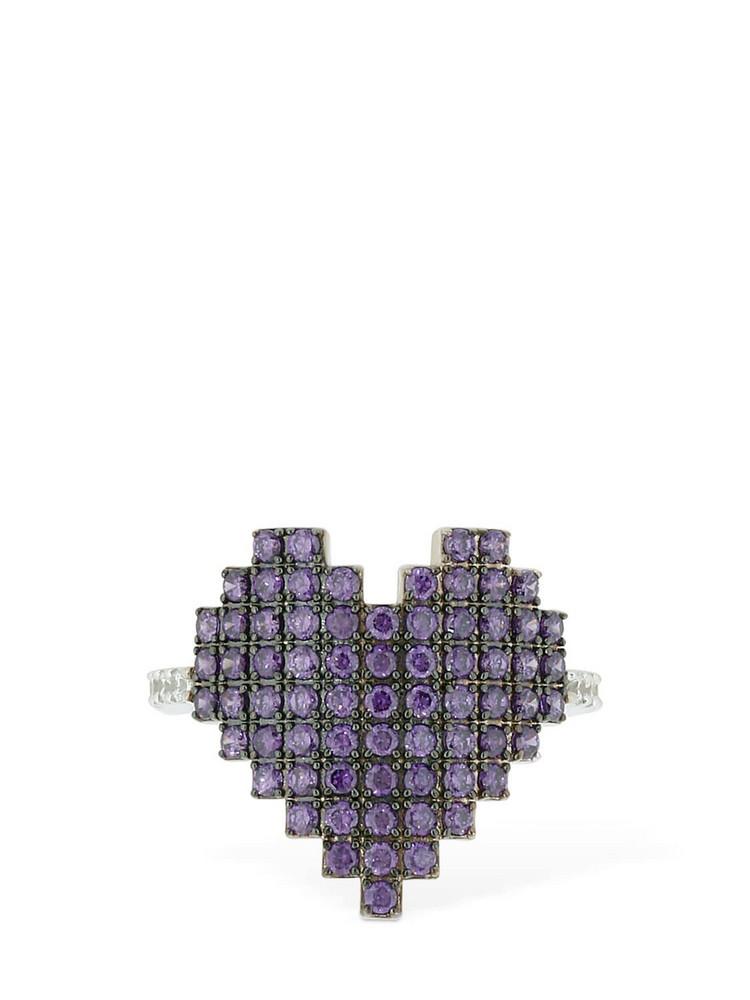 APM MONACO Silver Pixel Purple Heart Ring