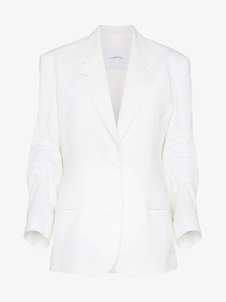 pushBUTTON shirred single-breasted blazer in white