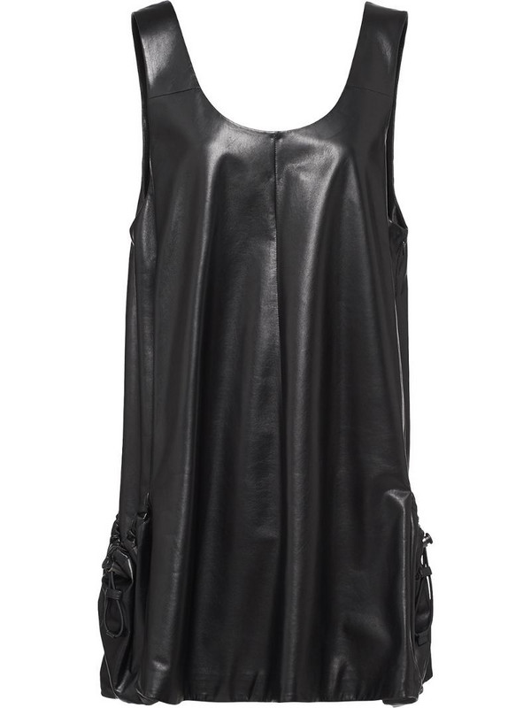 Prada leather mini dress in black