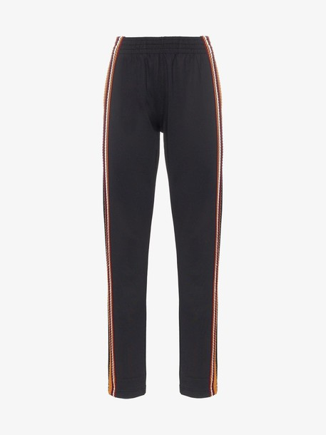 Wales Bonner Palms crochet-striped track pants in black