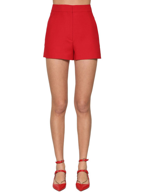 VALENTINO Silk & Wool Crepe Shorts in red