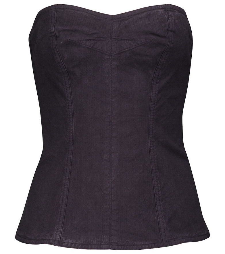 Isabel Marant Ezikio linen-blend bustier top in blue