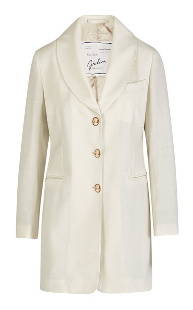 Giuliva Heritage Collection The Saturnia Blazer Wool Hopsack Size: 36 in white